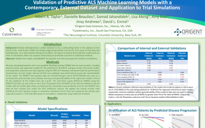 Poster: Validation of Predictive ALS Machine Learning Models with a  Contemporary, External Dataset and Application to Trial Simulations